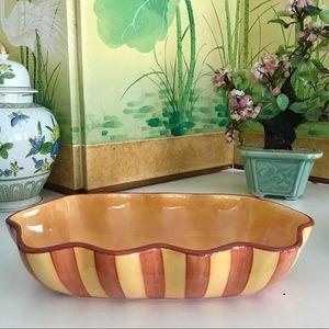 Vintage Dining - Gail Pittman Sienna Ruffled Oval Serving Bowl EUC